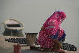 Woman in Pink Sari by Ganges