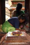 Woman Preparing Offerings in Bachhaleshwari Mandir Pashupatinath