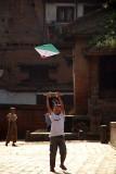 Boy Flying Kite in Durbar Square Bhaktapur 02