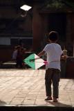 Boy Flying Kite in Durbar Square Bhaktapur 03
