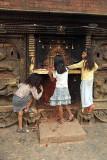 Girls at Shrine on Bhairabnath Mandir Bhaktapur