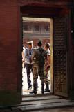 Guards Outside Golden Gate Bhaktapur