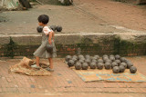 Small Girl with Pots Potters Square Bhaktapur