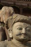 Stone Malla Wrestler and Elephant Taumadhi Tol Bhaktapur