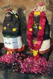 Decorated Statues with Garlands and Petals Brihadeeswarar Temple