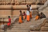 Pilgrims on Steps of Brihadeeswarar Temple 02