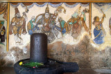 Stone Lingam with Painted Wall behind 02