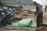 Fishermen Mending Nets Varkala
