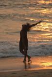 Indian Man on Varkala Beach at Sunset