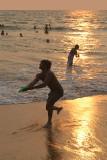 Frisbee Thrower on Varkala Beach at Sunset