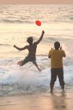 Playing Frisbee at Sunset Varkala