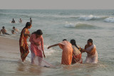Indian Women in the Sea at Varkala
