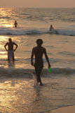 Man with Frisbee at Sunset Varkala