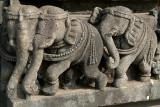 Carved Stone Elephant Cornerpiece Belur