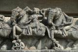Carved Stone Figures on Horseback Belur