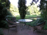 Our semi-private patio seating.  We look out over a pond and the lawn.