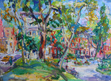 Washington Square North at McDougal - Painting by Sonia Grineva