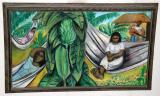 Afternoon Serenade Siesta - Mixed Media on Cardboard, 17 x 30.5 inches, unframed