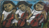 Cello Player - Artist's Daughter in Three Moods, 16.5 x 27 inches, unframed