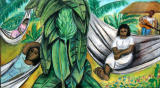 Afternoon Serenade Siesta by Juan De' Prey - Mixed Media on Cardboard, 17 x 30.5 inches, unframed