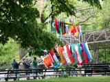 NYU Commencement  Preparations - Raising the World Flags