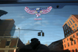 SUV Rear Window Reflection - Attack Eagle, NYU Law School & NYU Student Center