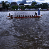 On their way to the start of the traditional annual dragon boat race...
