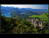 ... Neuschwannstein Castle and German Bavaria landscape ...