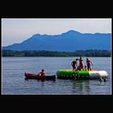 Having fun in the lake ...