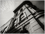 bank in a sepia tone