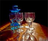 Glasses and a Blue Jar