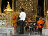 Monks having a ceremony at the Grand Palace  (the part with the Emerald Buddha was closed due to this)