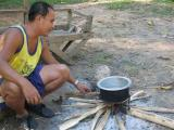 Sammy one of our trekking guides cooking our meal