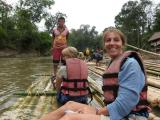 getting on the raft  (had to add 2 extra bamboo poles