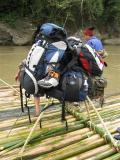 all backpacks put on a raised platform