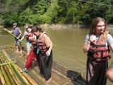 at the end of the rafting trip, the bamboo rafts are taken apart and the bamboo is sold