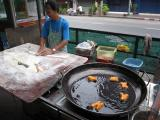 these were the best donuts cooking on the side of the road at the street stalls, 1 B each