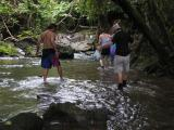 crossing one of the many streams that we had to walk through
