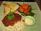 spaghetti with meat sauce @ the Eat Sense Restaurant on the beach