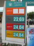 fuel prices per liter in Baht   (exchange was 40B to 1 US$$)
