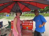 Rachel and the famous Billy's at Billy's esky or bar on the beach in Legian Bali