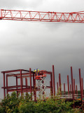 Men at work on a crane in stalybridge Cheshire