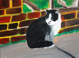 Figaroe The Cat painted in acrylics