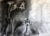 Kettle and Vase in charcoal
