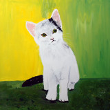 White Kitten painted in acrylics on 18 inch x 18 inch deep edge canvas. £75