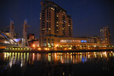 The Salford Quays and Lowry Outlet at dusk
