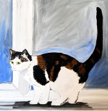 Boo The cat on a window ledge .on 20 x 20 inch canvas only £85