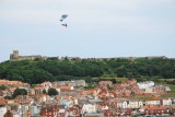 Sky divers coming in to land on Scarborough beach on Armed Forces Day