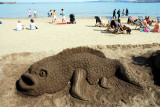 Sand model of a fish on Scarborough beach