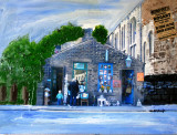 Bookshop in Uppermill blended into a painting